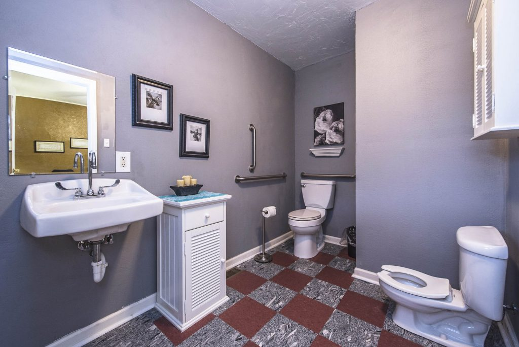 Wheelchair accessible restroom on the first floor